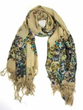 Beige and Floral Print Ladies Large Fashion Scarf