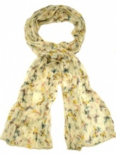 Ladies Cream and Butterfly Design Crinkle Scarf