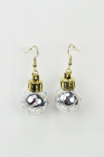 Christmas Silver Bauble Dangle Novelty Earrings