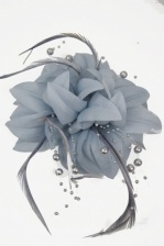 Silver Grey Flower & Bead Clip Fascinator & Brooch