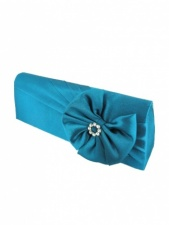 Teal Satin Clutch Bag with Crystal Detail