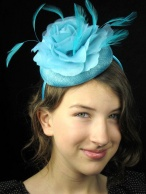 Tiffany Blue Pill Box Hat Fascinator with Flower and Feathers