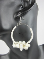 White Semi Precious Earrings with Freshwater Pearls