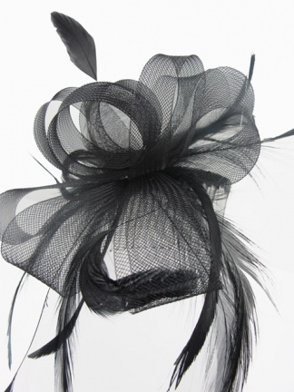 Black Bow and Feather Fascinator