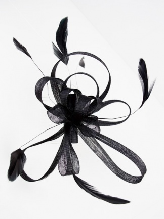 Black Mesh Ribbon Bow and Feather Comb Fascinator