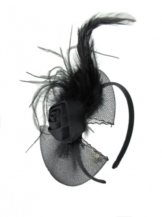 Black Rosebud & Feather Hairband Fascinator