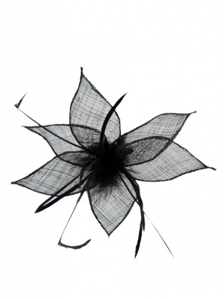 Black Sinamay & Feather Clip Fascinator