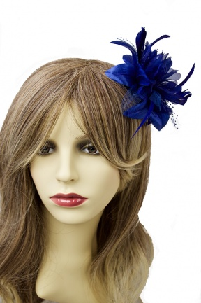 Royal Blue Flower & Feather Comb Fascinator