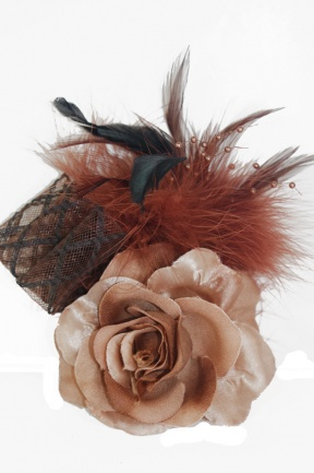 Brown Tone Rose Fascinator with Clip & Brooch Pin
