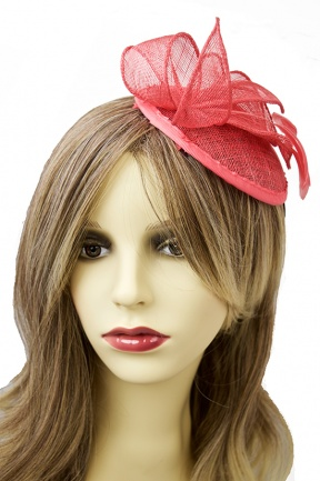 Coral Sinamay & Feather Cute Comb Fascinator