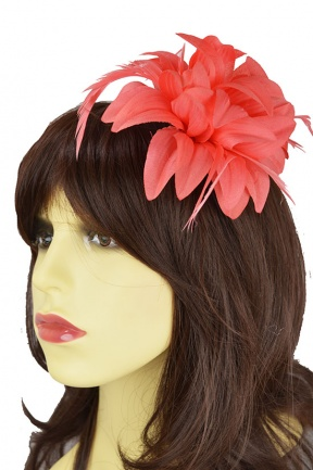 Coral Flower & Feather Clip Fascinator