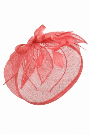 Coral Sinamay & Feather Aliceband Fascinator