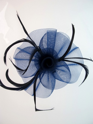 Navy Blue Crin and Feather Fascinator