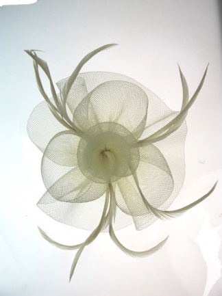 Ivory Crin and Feather Flower Fascinator