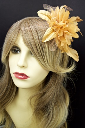 Gold Colour Flower Comb Fascinator
