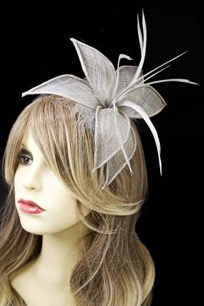 Grey Clip & Pin Fascinator