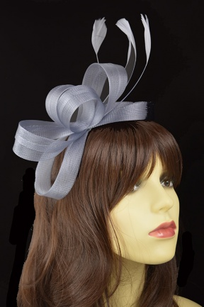 Grey Crinoline Loop & Feather Hairband Fascinator