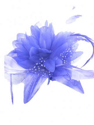 Purple Flower and Feather Clip Fascinator