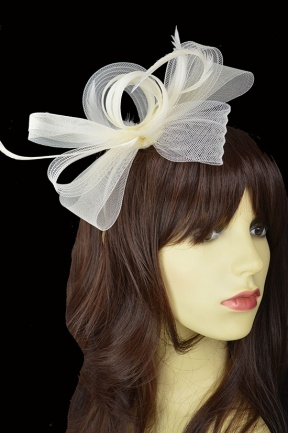 Ivory Crinoline Bow & Feather Hairband Fascinator