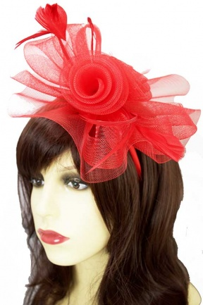 Large Red Flower & Feather Hairband Fascinator