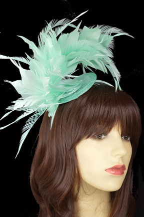 Light Green Feather Hairband & Clip Fascinator