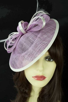Lilac & White Saucer Hat with Bow & Hairband
