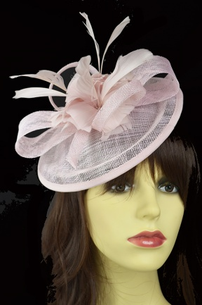 Pale Nude Pink Small Hat Fascinator with Hairband