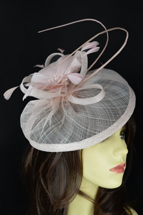 Nude Pink Pretty Hat Fascinator with Clip & Hairband