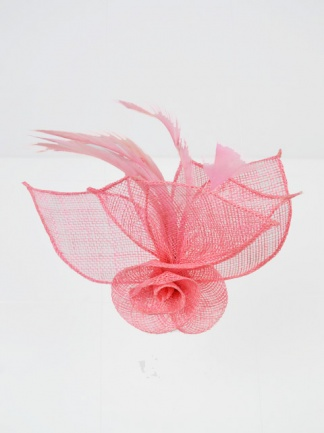 Pink Sinamay and Feather Clip Fascinator