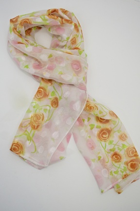 Pretty White & Floral Silk Mix Ladies Scarf