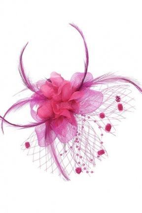 Pink Clip Fascinator with Netting & Beads
