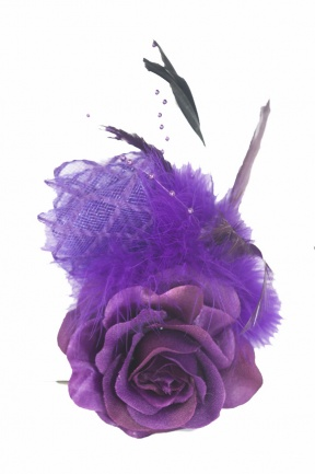 Purple Rose Pretty Clip Fascinator with Brooch Pin & Clip