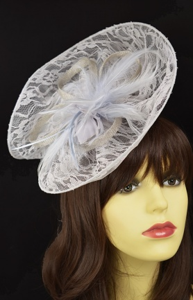 Silver Grey Large Lace Hairband Fascinator