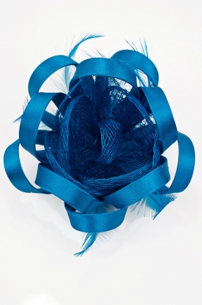 Small Teal Blue Flower Fascinator with Clip & Brooch Pin