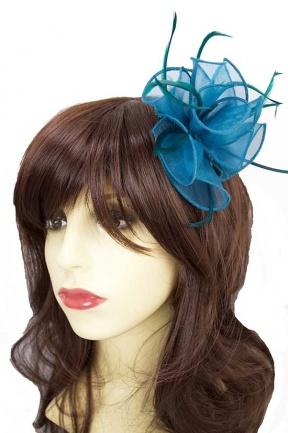 Teal Organza & Feather Comb Fascinator