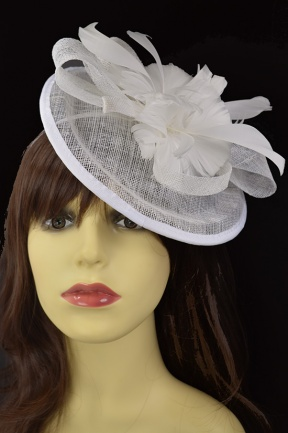 White Small Hat Hairband Fascinator with Clip