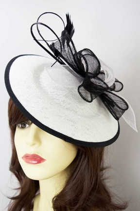 White & Black Saucer Hat Clip Fascinator