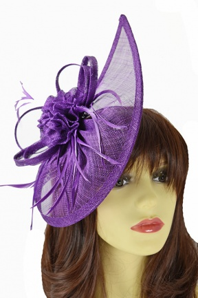 Aubergine Purple Large Contemporary Hairband Fascinator