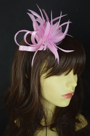 Baby Pink Feather Flower Hairband Fascinator
