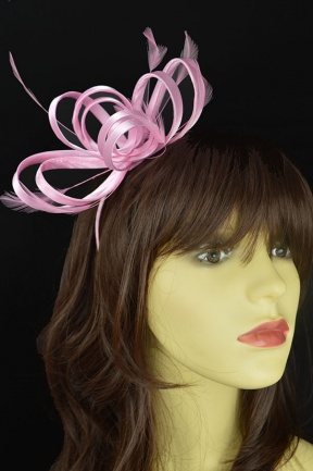 Baby Pink Satin Loop & Feather Hairband Fascinator