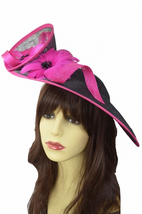 Large Black & Fuchsia Double Flower Hat Fascinator