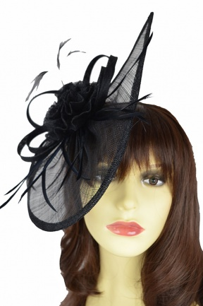 Black Contemporary Hairband & Clip Fascinator