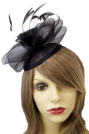 Black Crinoline Flower Hat Fascinator with Hairband