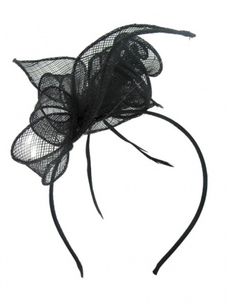 Black Sinamay & Feather Hairband Fascinator