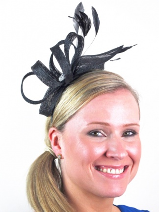 Black Sinamay Loops & Leaf Headband Fascinator