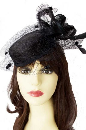 Black Pill Box Hat Fascinator with Birdcage Veil & Bow