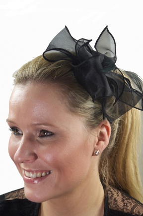 Black Chiffon Bow & Feather Hairband Fascinator