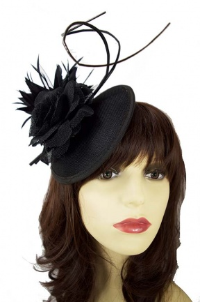 Black Contemporary Flower & Feather Clip Fascinator