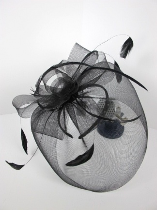 Black Feather and Mesh Veil and Bow Hairband Fascinator