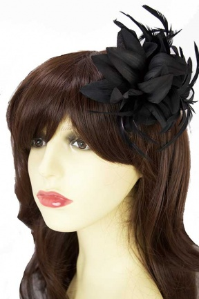 Black Flower & Feather Clip Fascinator